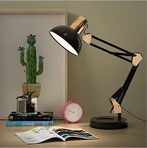 Lámpara de escritorio USB Lámpara de arquitecto de metal con protección ocular LED, brazo oscilante ajustable con alimentación USB para lectura en la oficina en casa, portalámparas de tornillo E27, b