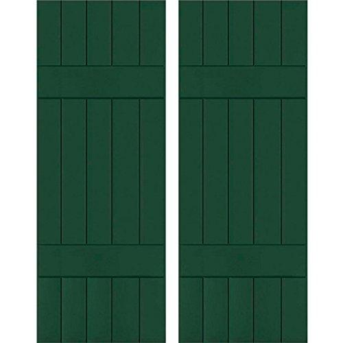 "Exterior Five Board Real Wood Pine Board-n-Batten Shutters (Per Pair), 18"" x 75"", Chrome Green - Ekena Millwork RWB18X075CGP"