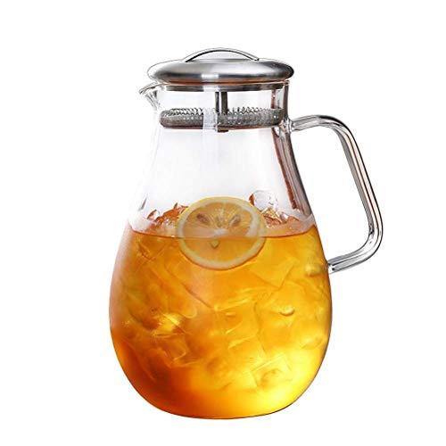 ZXL 1800 ml borosilicaatglas waterkruik met roestvrijstalen deksel warm/koud water karaf met handvat drank Pitcher voor zelfgemaakte ijsthee en sap voor bloemthee