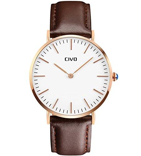 CIVO Herren Braun Lederband Analog Quarz Uhr Männer Business Casual Wasserdichte Luxus Männlich Zeitloses Einfaches Classic Design Armbanduhr Modisch Kleid...