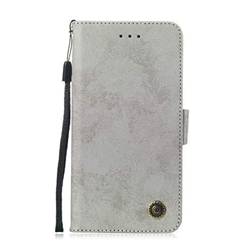 LG Q7 Hülle, DENDICO Premium Brieftasche Leder Wallet Tasche für LG Q7, Handy Schutzhülle Tasche Flip Etui - Grau