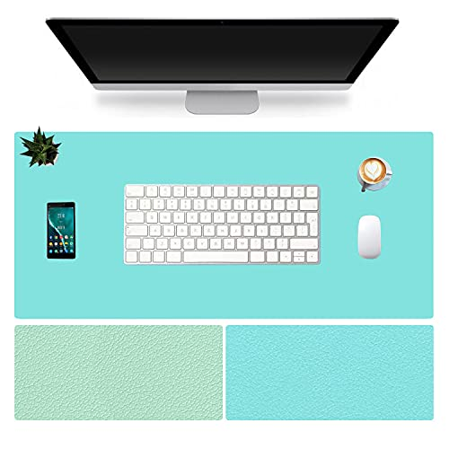 """VoiceFly Large Office Writing Desk Pad, 35.4""""x 15.75"""" PU Leather Desk Mouse Pad Non-Slip Waterproof Mat Dual-Side Use, Ultra Thin 2mm for Office/Home(Green+Blue)"""