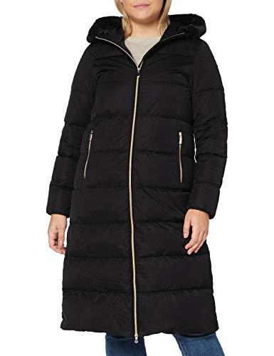 Geox W TABELYA Maxi Long Abrigo de Piel sintética, Black, 46 para Mujer
