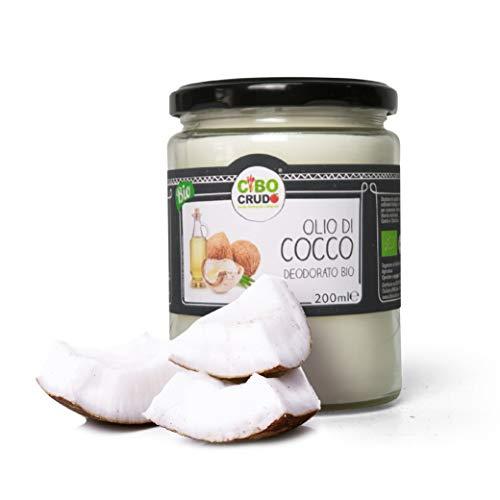 CiboCrudo Olio di Cocco Deodorato, Biologico, Spremuto a Freddo, Lavorato Sotto Vuoto, Puro al 100%, Neutro nel Sapore e nel Profumo, per Uso Alimentare – 200 ml