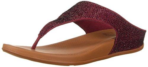 FitFlop Women's Banda Glitz Sandal, Berry, 6 M US