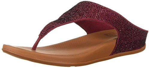 FitFlop Women's Banda Glitz Sandal, Berry, 7 M US