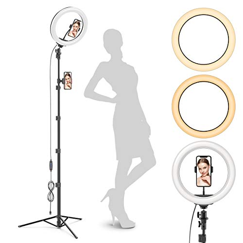 Radiance 10' Ring Light with Tripod Stand (74' Tall) - Dual Phone Holders, 3 Lighting, Selfie Circle LED Lights Ringlight for Video Recording, Conference, Makeup, iPhone, Laptop, Computer, Webcam