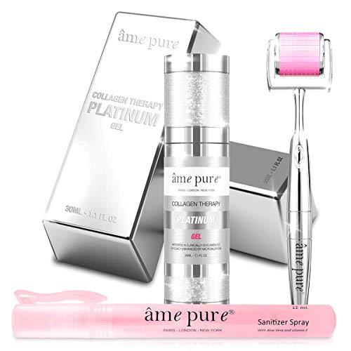 âme pure® CIT Face Roller PLATINUM SET Klinisch Erwiesene Anti-Pickel- und Aknenarben-Mikronadelbehandlung für Reine, Gesunde Haut (Dermaroller 0.5mm + Gel + Desinfektionsmittel)