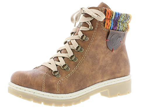 Rieker Donna Polacchine Y9430, Signora Stivali,Chukka Boot,Half Boots,Stivaletti Stringate,Foderato,Stivaletti Invernali,NUSS-Antik,42 EU / 8 UK
