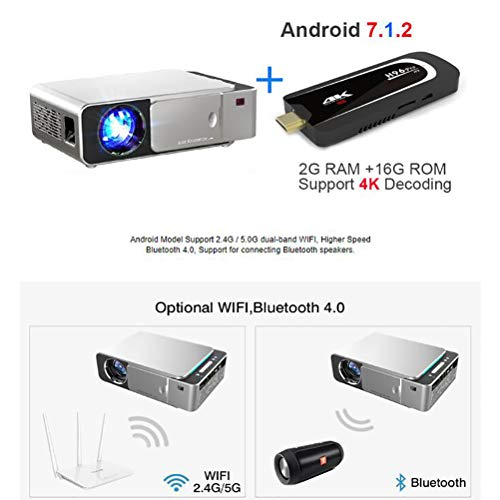 SMEI Proyector Portátil HD 1280x720p Opción Android 7,0 Hdmi USB 1080p Home Theater Proyector WiFi Mini Led Beamer Android Externo 7,1