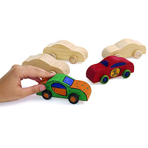 Image of Colorations Wood Rolling DIY Car, Set of 12, Ready to Decorate, Arts & Crafts, Toy, Movement, Racecar, Girls & Boys, Craft Activity, Model Car, Beginner