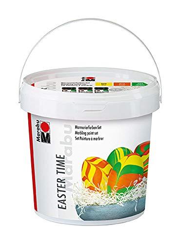 Marabu 1305000000097 - Easy Marble Marmorierfarben Easter Time, Set zum Tauchmarmorieren von Kunststoff, Glas, Holz und Styropor, 3 x 15 ml Farbe, 5 Kunststoffeier, 5 Holzspieße und Ostergras