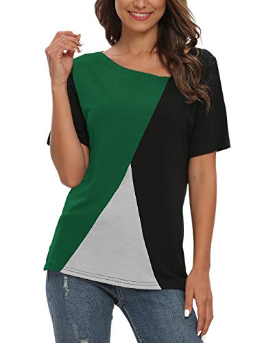 AUSELILY Camisetas de Manga Corta para Mujer Blusas Tops de túnica con Bloques de Color Patchwork.(Negro Ejército Verde,40-44)