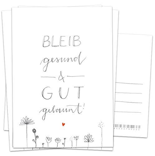 5 Geburtstagskarten & Dankeskarten - Bleib gesund & gut gelaunt - Spruchkarte zum Geburtstag, als Glückwunschkarte oder Motivation, Handlettering Recyclingpapier Postkarten mit Blumen, Grau Weiß