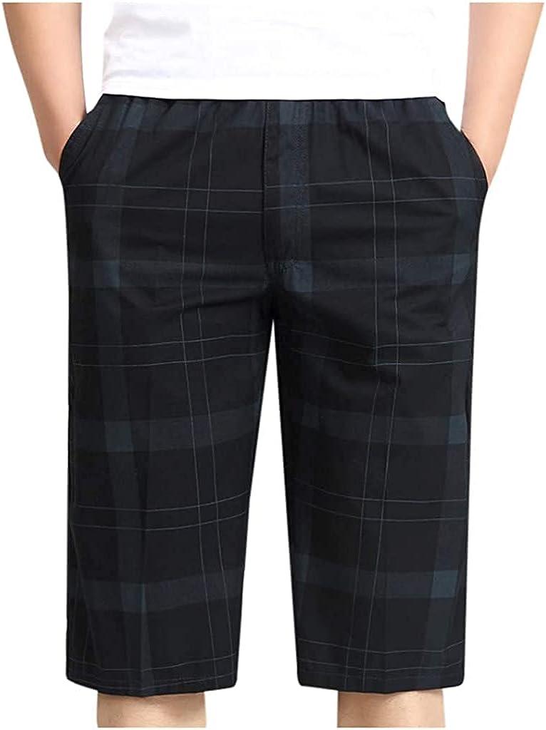 Andrea Spence Mens Summer Shorts,Men High Waist Elastic Waist Multi Pocket Cropped Cotton Shorts Overalls Summer