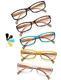 Un Pack de 5 Gafas de Lectura 2.5 Efecto Madera/Gafas para Presbicia para Hombres y Mujeres,Buena Vision Ligeras Comodas,Vista de Cerca/Vista Cansada