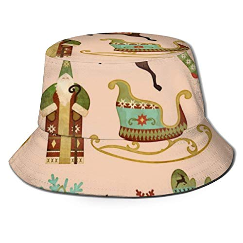 Patrón de Aldea navideña Sombrero de Pescador Sombreros de Copa Transpirables de Tapa Plana Sombrero de Sol de Moda Unisex Verano