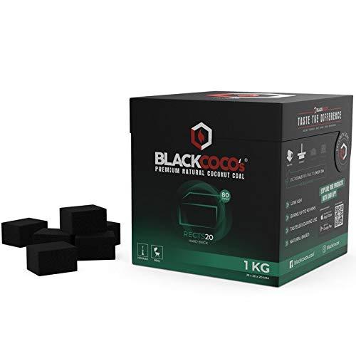 BLACKCOCO's Shisha Kohle 1KG RECTS20 Naturkohle Kokosnuss und BBQ - Hochwertige Kokos Coal Briketts für Wasserpfeife & Grill - Shisha Würfel Kohlen & Grillkohle mit Langer Brenndauer