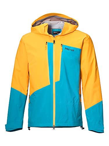 Marmot Huntley Jacket Chubasquero Rígido, Chaqueta Impermeable, A Prueba De Viento, Impermeable, Transpirable, Hombre, Solar/Enamel Blue, L