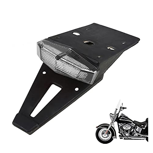 Motorcycle Fenders Off Road Dirt Enduro Bike LED Rear Mudguard Brake Tail Light License Plate Lamp White (Color : White)