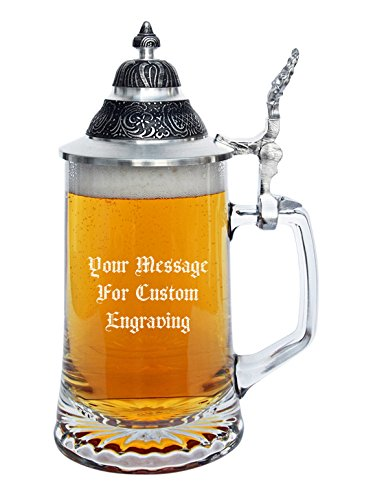 Personalized Glass Beer Stein Custom Engraved with Your Text, German Beer Stein Personalized with Your Text