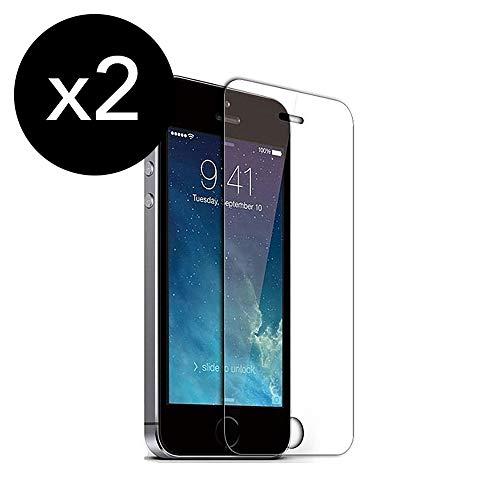 KSTORE365 [2 Piezas] Cristal Templado, Protector de Pantalla iPhone Vidrio Templado con [Adhesivo En Todo El Cristal] [9H Dureza] [2.5D Borde Redondo] para iPhone 5 5S 5 5SE 5C C