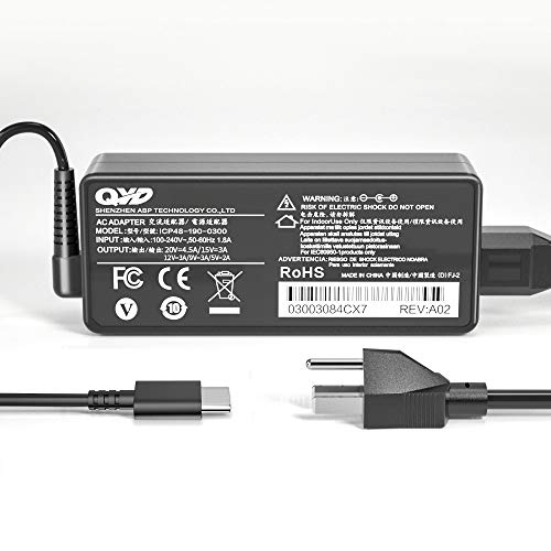 QYD 90W USB Type-C PD Power Adapter Replacement for Laptop-Charger MacBook PRO 13' A1719 MNF82LL/A MacBook Air 2018 iPad Pro 2018 Dell LA90PM170 0TDK33 TDK33 5175 7275 5280 Battery Power Supply Cord