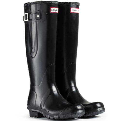 Hunter Original Adjustable Damen Fest Gummistiefel Wellington Boots - Schwarz - 42