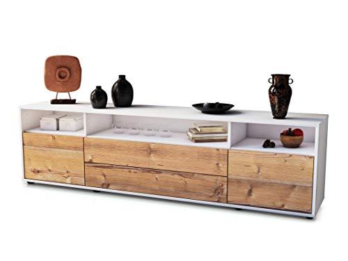 Stil.Zeit TV Schrank Lowboard Lucy, Korpus in Weiss matt/Front im Holz-Design Pinie (180x49x35cm), mit Push-to-Open Technik und hochwertigen Leichtlaufschienen, Made in Germany