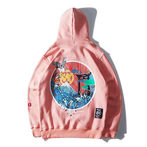 Bospyaf Lovers Sweatshirt - Sudadera para hombre bordada con capucha y cabeza fina, color rosa, M