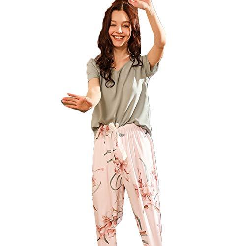 LangfengEU Conjunto de Pijamas de Verano, Ropa de Dormir para Mujer, Casual, Estampado Floral, Color en Contraste, Camisetas diarias con Pantalones Largos, Ropa para el hogar