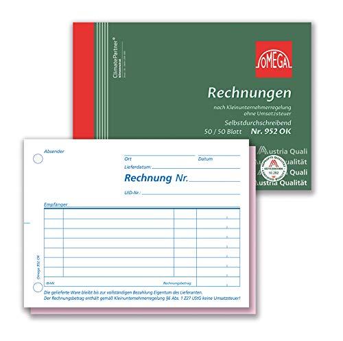 Omega Rechnungsbuch 952 OK selbstdurchschreibend, A6 quer, 2x50Bl, für Kleinunternehmer, ohne ausgewiesener Umsatzsteuer