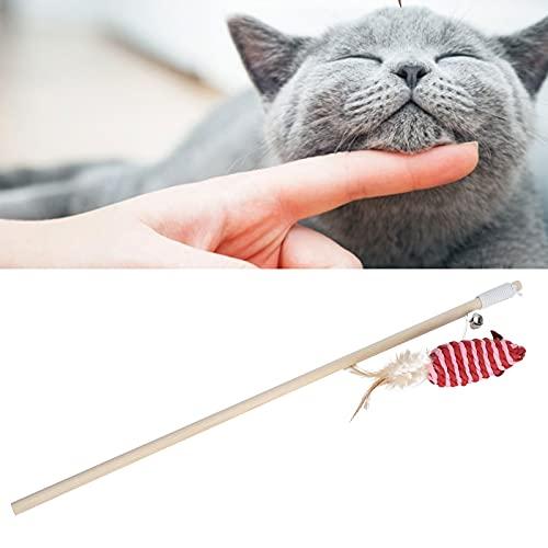 Rodi Interaktives Katzenspielzeug, Katzen-Teaser-Stick Leichtes Katzen-Teaser-Spielzeug Katzen-Zauberstab-Spielzeug mit elastischem Seil für Haustiere