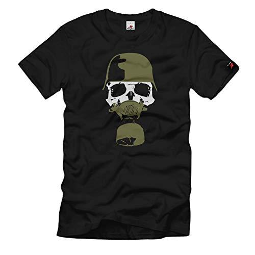 Stahlhelm Gasmaske Bundeswehr Skull Maske- T Shirt ##156, Größe:5XL, Farbe:Schwarz