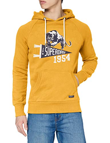 Superdry Mens Mascot Varsity Overhead Skateboarding Hoodie, Upstate Gold, S