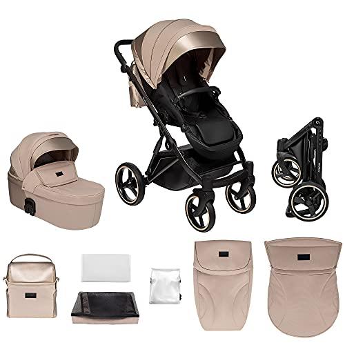 skiddoü 2in1 Oslo Buggy und Babywanne multifunktional Kinderwagen, klappbares Gestell, regulierbar, stoßgedämpfte Räder Moskitonetz Fußschutz Regenschutzfolie Tasche beige
