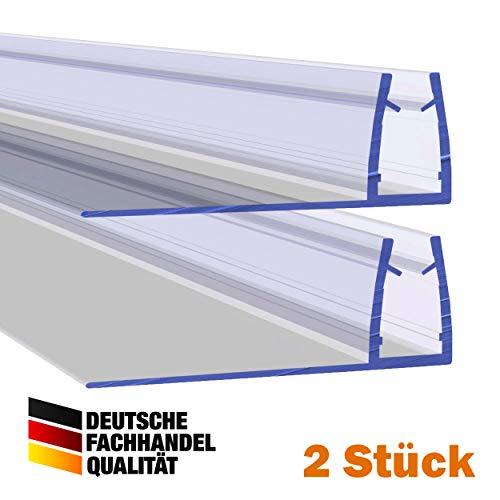 VON ADELBERG Duschdichtung Wasserabweiser Gerade PVC Ersatzdichtung für Dusche Typ: VA004-28 2 Stück - Länge: 40 bis 200 cm - Glasstärke: 4, 6, 8, 10 mm, Dichtung Länge:200 cm, Glasstärke:6 mm