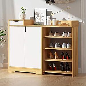 JINGTIA Multifuncional Estante Zapatero de Zapatos de Almacenamiento Estante del Armario Armario de Foyer Zapato gabinete Muebles de Madera,Log Color+White