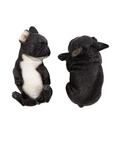 Petorama 100% Handmade Hand Painted Collectible Grade Premium Lifelike Realistic Gift Sleeping French Bulldog Statue Set (2) 1:6