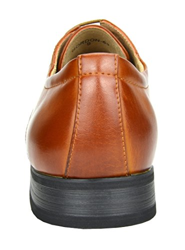 Bruno Marc GORDON-03 Men's Formal Classy Snipe Toe Lace Up Leather Lining Oxford Dress Shoes Brown Size 9