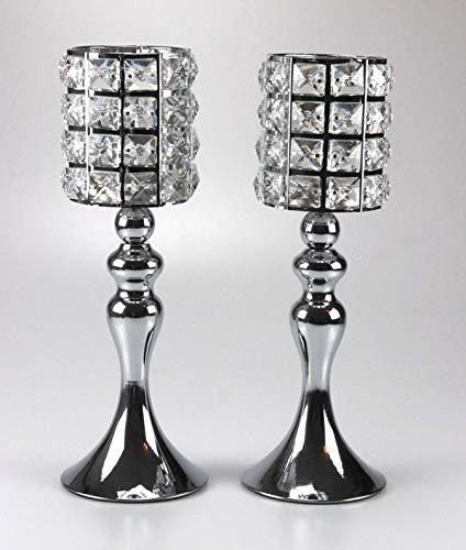 Bador Set di 2 portacandele di Design con Gioielli in Cristallo, Altezza Totale ca. 32 cm in Argento