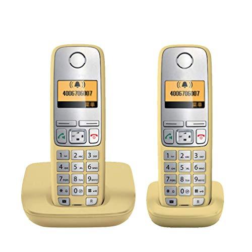 SHKUU TeléFono BotóN Vintage TeléFono InaláMbrico Expansible AnfitrióN TeléFono Individual Oficina En El Hogar TeléFono Fijo Llamadas Manos Libres Bienvenido (Color: Amarillo2)