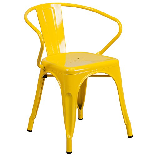 Flash Furniture Commercial Grade Yellow Metal Indoor-Outdoor Chair with Arms