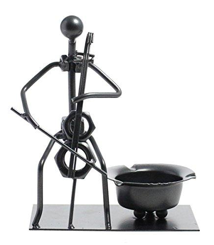 Unique Creative Stylish Home Decor Instrumental Iron Ashtray- Silver, Cello Man