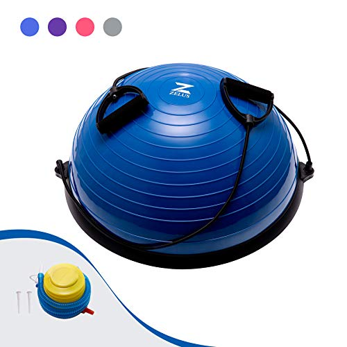 HIRAM Balance Ball 58cm Balance Trainer Gleichgewichtstrainer Gymnastikball Trampolinball Fitness Balance Ball Gymnastikball mit Zugbändern für Krafttraining Gleichgewichtstraining (Blau)