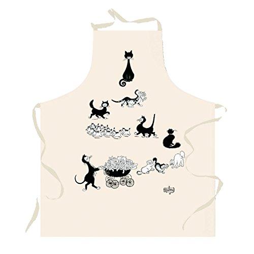Tablier de cuisine rectangulaire en coton Les chats de Dubout