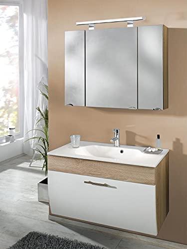 EINFACH GUTE MÖBEL Mueble de baño Salona de 2 piezas | lavabo de 90 cm + armario con espejo LED | roble Sonoma blanco