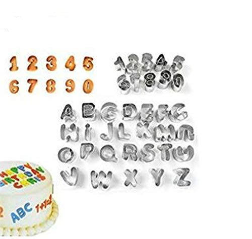 Alytimes Pack of 37 Alphabet Letter & Number Fondant Icing Cutter Set-Small Size- Cake Decorating Mold