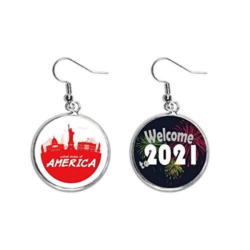 Colgante de oreja con contorno rojo Landmark America USA 2021 bendición