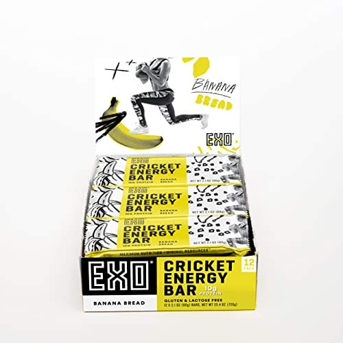 EXO Protein Bars, Banana Bread, 12 Count, 8g Protein, Gluten Free, High Fiber, Dairy Free Cricket Protein Bar, (Packaging May Vary)